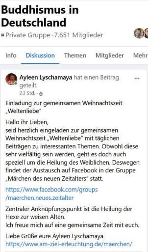 """Veranstaltung zur Weltenliebe in der Gruppe """"Märchen des neuen Zeitalters"""""""