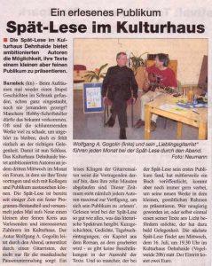 Lesung im Kulturhaus Dehnheide
